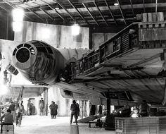 The falcon on the set of Star Wars