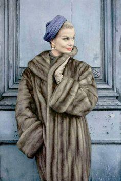 Model in Autumn Haze EMBA mink coat by Weil, hat by Svend, photo by Virginia Thoren, 1956