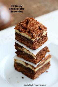 Tiramisu Cheesecake Brownies. Glutenfree Vegan Nutfree Recipe | Vegan Richa