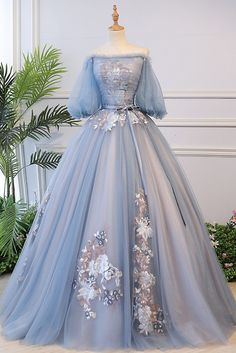 Blue tulle lace long ball gown dress formal dress ball gowns evening, ball gown dresses, ball gowns prom, #ballgownsevening #ballgowndresses #ballgownsprom Grey Evening Dresses, Ball Gowns Evening, Ball Gowns Prom, Ball Gown Dresses, Blue Ball Gowns, Dresses For Balls, Tulle Ball Gown, Blue Gown Dress, Gray Gown