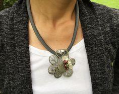 Floral Silver Pendant Necklace Silver Brooch by mypurplebasket
