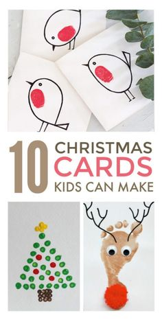 Handmade Christmas cards kids can make. Easy cute DIY homemade Christmas card ideas suitable for preschool and school children, including religious, funny and vintage cards made with handprint… Christmas Cards Handmade Kids, Simple Christmas Cards, Christmas Card Crafts, Preschool Christmas, Christmas Crafts For Kids To Make At School, Christmas Cards For Children, Childrens Christmas Card Ideas, Printable Christmas Cards, Funny Christmas