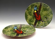 Bird of Paradise coupes. Painted Paper, Earthenware, Pots, Paradise, Pottery, Bird, Tableware, Ceramica, Dinnerware