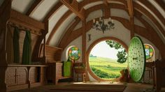 I really want to live in a hobbit house. A taller version of a hobbit house. Casa Dos Hobbits, Kids Wall Murals, Round Door, Earth Homes, Home Wallpaper, Farmhouse Wallpaper, 1080p Wallpaper, Movie Wallpapers, Modern Wallpaper