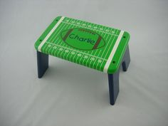 Personalized Football Step Stool Wood Green Blue by LaffyDaffy, $59.99