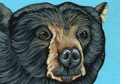 ACEO ATC Black Bear Wildlife Art Original Painting-Carla Smale #Realism