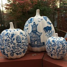 Set of 3 Cobalt Blue Chinoiserie Ceramic Pumpkins by CatsCovers on Etsy