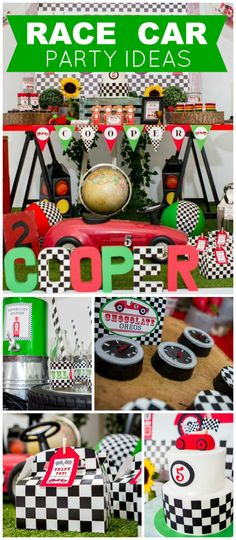 What a cool race car themed birthday party! See more party ideas at CatchMyParty.com!