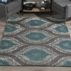 Addison Platinum Nebulous Peacock/Grey Ikat Trellis Area Rug x - - Teal), Blue, Addison Rugs Grey Rugs, Teal Living Rooms, Blue Grey Rug, Rugs, Living Room Grey, Teal And Grey, Eclectic Area Rug, Colorful Rugs, Contemporary Rug