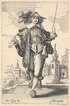 Plate a gentleman walking forward, with his right arm outstretched and a whip in his left hand, wearing a plumed hat and decorated shoes, from & Jardin de la Noblesse Françoise dans lequel ce peut ceuillir leur maniere de Vettements& 17th Century Clothing, 17th Century Fashion, Le Bourgeois Gentilhomme, Thirty Years' War, Merian, Decorated Shoes, Baroque Fashion, Illustrations, Metropolitan Museum