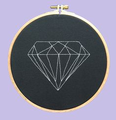 Diamond - Hoop Art / Embroidery, Modern Craft / Desing By Nephilim by NephilimShop on Etsy