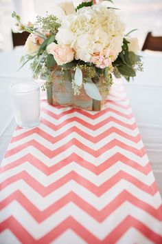 Chevron runner with centerpieces in the center