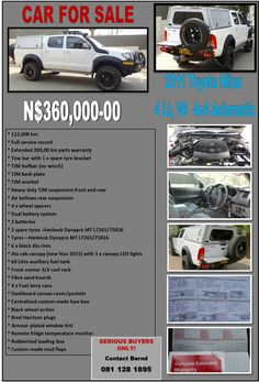 2011 Toyota Hilux 4 x4 Automatic, 4Lt, V6 for Sale Contact Bernd +264 81 128 1895