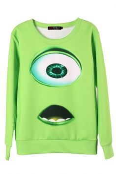 Green 3D Cartoon Print Long Sleeve Sweatshirt
