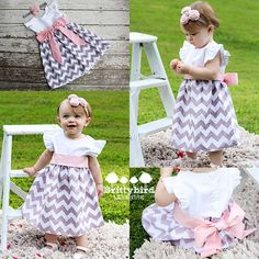 Girls Grey Chevron Dress with Flutter Sleeves and by Brittybird, $40.00