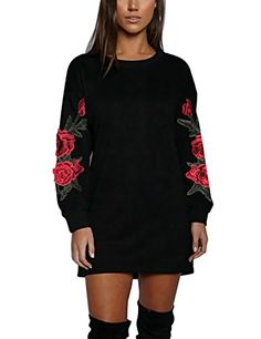 6c923450274 ISASSY Pull Robe Femme Impression Floral Manches Longues Lâche Tops T-Shirt  Mini Robe Noir M(UK10) (EU40)