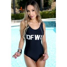 Sexy Black Graphic Print Two Tone Low Cut Back One Piece Swimsuit