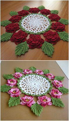 The Rose Doily – Craft Ideas Free Crochet Doily Patterns, Crochet Mandala, Crochet Designs, Crochet Flower Tutorial, Crochet Flowers, Flower Embroidery Designs, Paper Embroidery, Doilies Crafts, Crochet Dollies