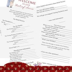 """Latter-Day Chatter: Relief Society Welcome Packet  Get Relief Society Ideas at - www.MormonLink.com  """"I cannot believe how many LDS resources I found... It's about time someone thought of this!""""   - MormonLink.com"""