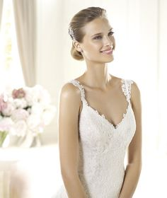 Honorable A-line Spaghetti Straps Lace Sweep/Brush Train Tulle Wedding Dresses : Wedding Dresses, Bridesmaid Dresses, Gowns Online Shop, | Aisle Style UK