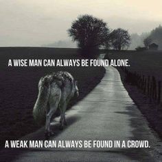 Wolf Quotes - A wise man can always be found alone. A weak man can always be found in a crowd. Motivacional Quotes, Great Quotes, Inspirational Quotes, Quotes Images, Loner Quotes, Dumb Quotes, Sad Sayings, Yoda Quotes, Loyalty Quotes
