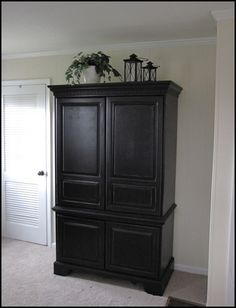 armoire re-do – hoping this inspires me to tackle our bedroom furniture. i have been wanting to paint it black for SOOO long! Any individual. Armoire Redo, Armoire Makeover, Painted Armoire, Tv Armoire, Computer Armoire, Painted Dressers, Pine Bedroom Furniture, Bedroom Furniture Makeover, Home Furniture