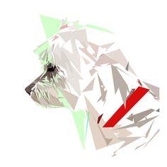 Mythologie Reloaded  Menthéos : Coton de Tulear d'Hadès Peinture numérique sur toile : format 84 × 84 cm   Pendant cette première décennie, Hadès a décidé de vivre avec son chien qu'il a baptisé « Menthéos » en   hommage à l'une de ses conquêtes nommée Menthé.