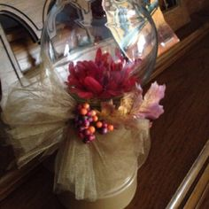 Bridal shower centerpieces, just change the colors! Light Decorations, Table Decorations, Bridal Shower Centerpieces, Shower Ideas, Celebrations, Our Wedding, Glass Vase, Craft Ideas, Change