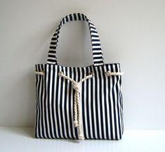 Sailor Tote Bag - DARK BLUE and WHITE striped -