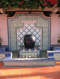 Spanish Tile Fountain- Valencia Hotel Designer Hank Milam