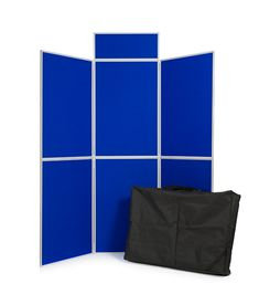 6 Panel #folding display board kit with bag and header. Lightweight at under 6kg; display boards have a loop nylon fabric finish that excepts velcro. Perfect for an #exhibition, presentation or marketing promotion. £99 + Delivery + UK VAT. Blue/Grey in stock for next day UK delivery - www.xldisplays.co.uk
