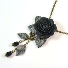 Ready to ship Black silver rose necklace  Polymer by PommeDeNeige