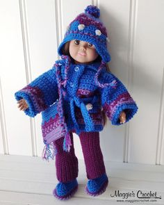 "Picture of 18"" Doll Icelandic Ensemble Crochet Pattern"