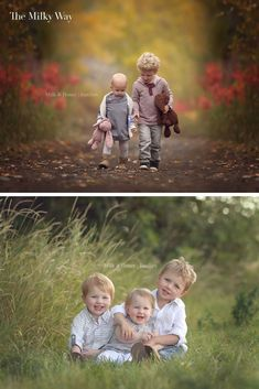 Family Photography Posing Ideas: Sibling Poses The Milky Way | Getting the small humans together for a photo may feel like herding cats, but there are several strategies you can use depending on their ages. Here is some inspiration! If you're looking for posing ideas for your kids or posing ideas for your next family photoshoot then we've got you covered. outdoor kids photography, outdoor kids photography boys, outdoor kids photography sibling, outdoor kids photography ideas #familyphotos