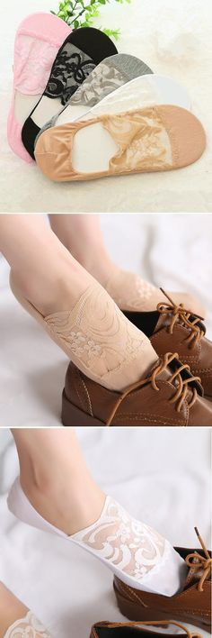 US$ 4.15 Fashion Women's Lace Antiskid Invisible Boat Sock Summer Thin Breathable Short Ankle Socks