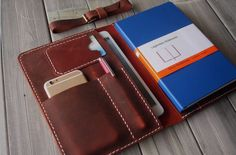 Leather iPad Mini Case Hand Stitched Portfolio by CPScraftStudio