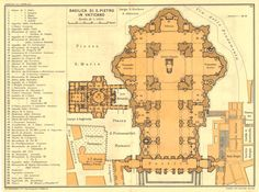 Your place to buy and sell all things handmade Architectural Floor Plans, Architectural Drawings, Drafting Drawing, Gian Lorenzo Bernini, St Peters Basilica, Renaissance Architecture, Fantasy Map, Cathedral Church, Vatican City