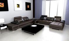 Divani Casa Phantom - Modern Espresso Leather Sectional Sofa w Two Ottoman's and End Table