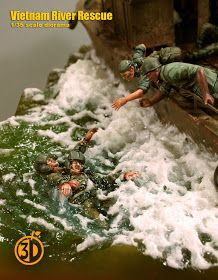 Vietnam River Rescue (formerly known as PBR diorama) Diorama Militar, Brown Water Navy, Good Morning Vietnam, Military Action Figures, Water Effect, Vietnam War Photos, Model Maker, Military Modelling, Military Diorama