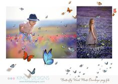 Butterfly Wish Photo Overlays png files by KimlaDesigns on Etsy