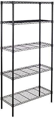 Amazon Com Amazonbasics 5 Shelf Shelving Unit Black Home Kitchen Shelving Unit Shelving Organizing Wires