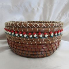 Pine Needle Basket with Red White and Blue by KandApineneedlebskt