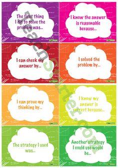 Maths Thinking Sentence Starter Cards Teaching Resources – Teach Starter