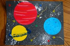 Solar system craft---this website is full of AMAZING ideas! Materials you will need: -black sheet of card stock paper (I used construction paper but if I had to do it again I would pick card stock because of the thick paint) -white crayon -cereal bowl (to trace the Moon shape) -white paint -flour -paint brush -Empty bottle with plastic cap on it (we used an empty wate...
