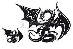 tattoo designs: Isolated fantasy black dragon for tattoo design