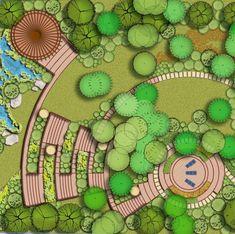 Как можно организовать деревянную лестницу на очень крутом спуске? Ведь ступенька высотой более 0,15м не удобна, в особенности если в семье… Mosque Architecture, Architecture Images, Landscape Architecture Design, Garden Landscape Design, Landscape Plans, Concept Architecture, Lanscape Design, City Layout, Urban Ideas