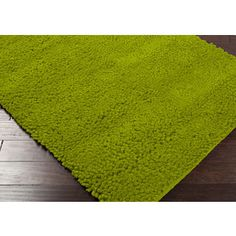 Aros Collection New Zealand Felted Wool Shag Rug in Moss design by Surya