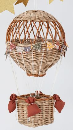 Hand woven baskets and farmhouse decor by WickerCozyPlace Home Decor Baskets, Basket Decoration, Baskets On Wall, Wicker Baskets, Travel Theme Decor, Diy Crafts Room Decor, Steampunk Home Decor, Balloon Basket, Bamboo House Design
