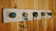 Turquoise Tango knob  jewelry board with 5 knobs by SplintersAndNails, $29.50