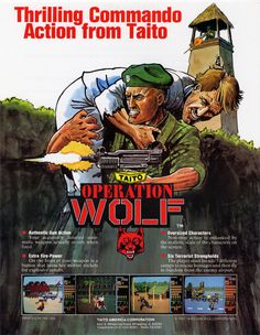 """Flyer for the """"Operation Wolf"""" light-gun arcade game, by Taito, 1987"""